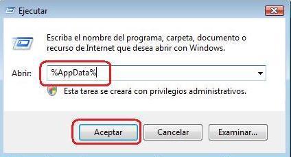 ejecutar appdata